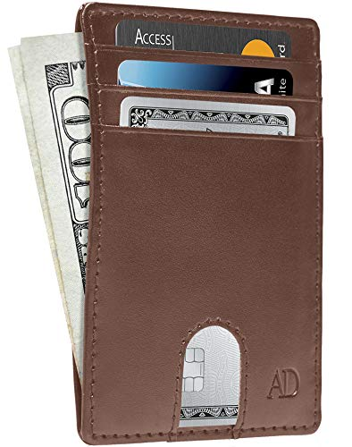 Vegan Leather Slim Minimalist Wallets For Men - Cruelty Free Non Leather Front Pocket Thin Mens Wallet RFID Credit Card Holder Gifts For Him