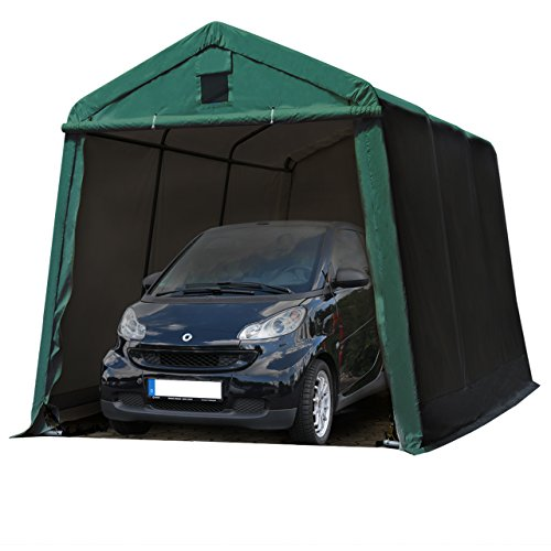 TOOLPORT Zeltgarage 2,4 x 3,6 m Weidezelt Premium Carport 500 g/m2 PVC Plane Unterstand Lagerzelt Garage in dunkelgrün
