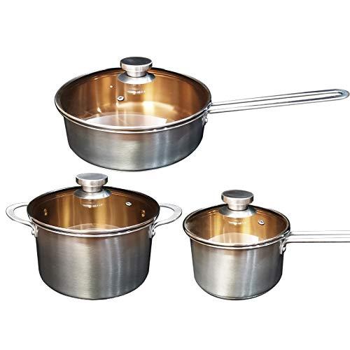 DCGSADFW 6-delige set, 3-potpan, 3 deksels, geschikt voor alle soorten kookplaat: inclusief inductiekookplaat, roestvrij staal 18/10, 3-delige set