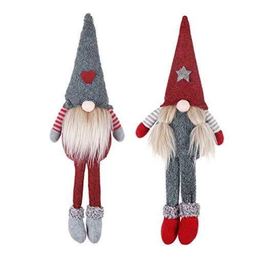 Holibanna Favore della Festa della Decorazione della Bambola del Babbo Natale della Peluche di GNOME della Gamba Lunga di Natale 2pcs