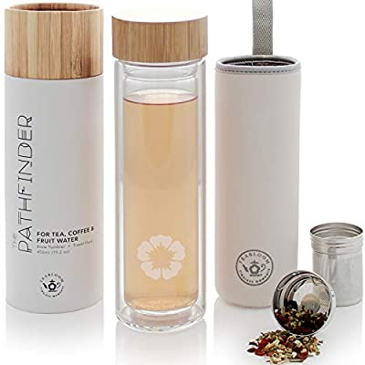 Teabloom All-Beverage Tumbler – 15 oz / 450 ml – Tempered Glass Travel Bottle – Hot and Cold Tea Infuser – Cold-Brew Coffee – Fruit-Infused Water – Tea Tumbler – The Pathfinder by Teabloom