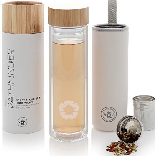 Gobelet à thé toutes boissons - 450 ml - Gobelet de voyage en bambou naturel et verre trempé - Infuseur à thé chaud et froid - Café froid - Eau infusée aux fruits - Gobelet à thé - Le Pathfinder
