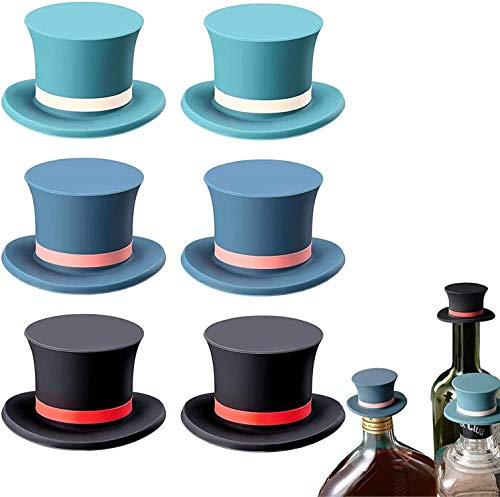 Tapón de botella de vino de 3/6 piezas de silicona, sombrero mágico reutilizable, tapas de botella de vino, tapones de sellado para agua de cerveza de champán, negro, azul, verde (6)