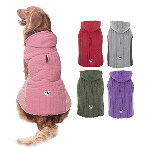 EMUST Dog Winter Jackets, Small/Medium/Large Dog Coat for Winter, Windproof Fleece French Bulldog Clothes for Dogs, Dog Coats for x-Large Dogs Winter, XL