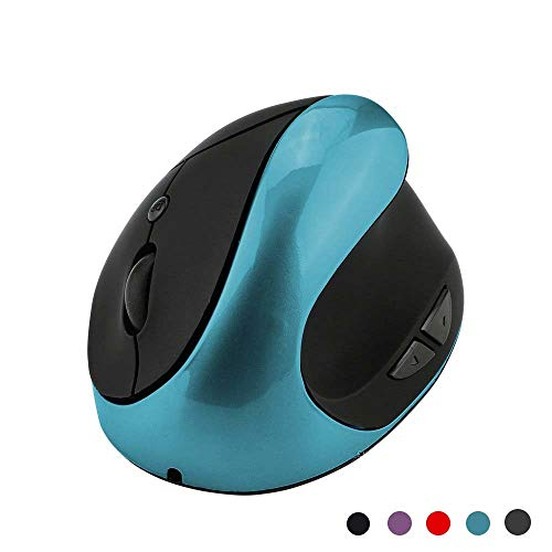 Souris sans Fil, 2.4G Souris USB Ergonomique Verticale avec récepteur Nano, Rechargeable, réglable DPI 800/1200/1600/2400 pour Ordinateur Portable, Mac, Macbook Pro, PC, Ordinateur, Chromebook (Bleu)