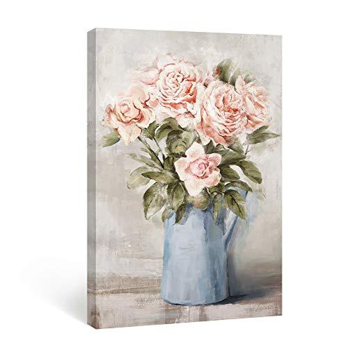 SUMGAR Cuadro de flores rosas sobre lienzo para pared, diseño de peonías rojas, estilo rústico, pintura vintage, color azul, decoración de pared para cuarto de baño, dormitorio, salón, 40 x 60 cm