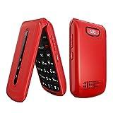 WEUN Teléfono Celular abatible para Personas Mayores Desbloqueado, botón Grande con Tarjeta SIM Dual, fácil de Usar, teléfono móvil, Rojo, para Personas Mayores