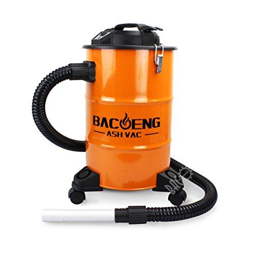 BACOENG Aschesauger mit zweistufigem Filtersystem, Kaminsauger 20L, 1200W, 1.5m Metallischer Verlängerungsschlauch