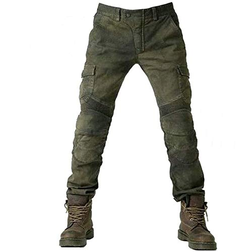 Alpha Rider Motorradhose Herren Jeans Textil Motorrad Hose mit Protektoren Armee Grün L
