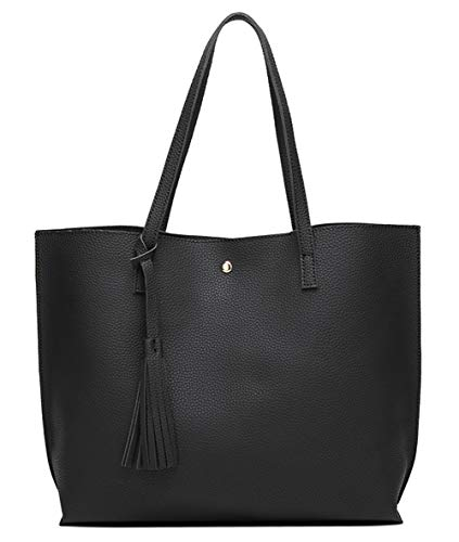 Women's Soft Faux Leather Tote Shoulder Bag from Dreubea, Big Capacity Tassel Handbag Black