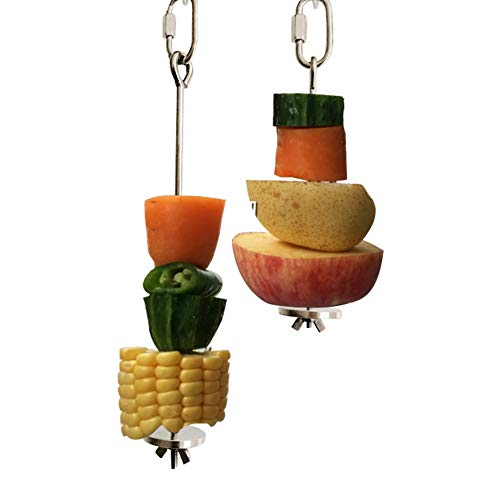 QBLEEV Bird Food Holder, Bird Feeders, Stainless Steel Parrot Fruit Vegetable Stick Holder, Foraging Toy, Bird Treat Skewer Large Size