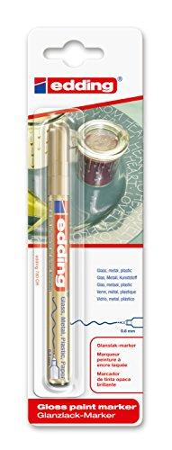 edding 780 Glanz-Lack-Marker - Gold - 1er Blisterkarte - Lackmarker zur Gestaltung von Glas, Metall & Papier