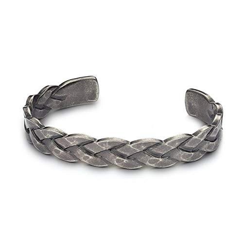QFJCNZ Armband Mode Armreif Für Männer Vintage Antik Silber Männlichen Schmuck Mode Unisex Armband Fit 14 16 cm