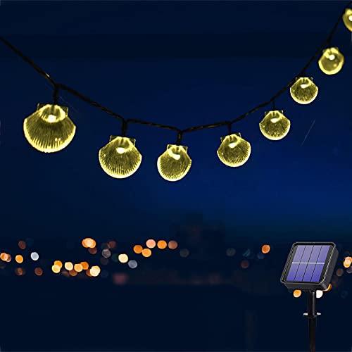 Catena Luminosa Esterno Solare, 50LED Bianco Caldo Conchiglia Luci da Esterno con 8 Modalità, Impermeabile Catena di luci Decorazione per esterni, Lucine da Esterno per Giardino,Gazebo,Terrazzo(7M)