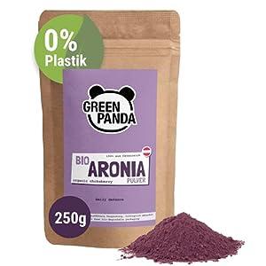 Polvo de Aronia orgánica de cultivo austriaco, bayas de Aronia bio deshidratadas y molidas extra finas sin aditivos, alternativa regional al polvo de Acai, 250 g de Green Panda