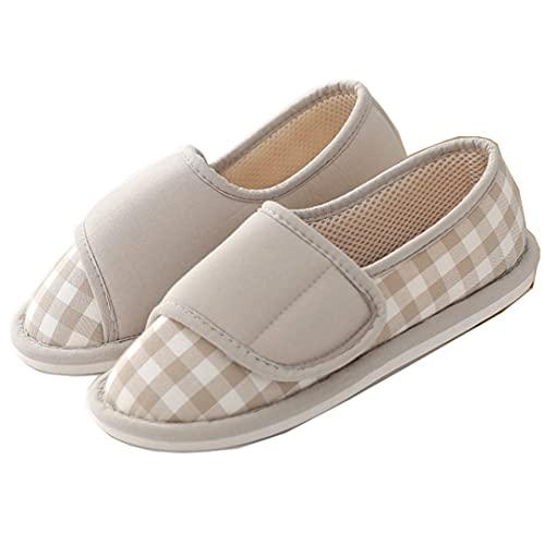 Modest Joy ルームシューズ 高齢者 介護シューズ 妊婦 女性 リハビリシューズ 軽量 スリッパ 介護 靴 滑り止め (グレー, M, measurement_24_point_0_centimeters)