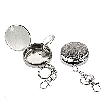 CRIVERS 2pc Portable Pocket Ashtray/Vehicle Cigarette Ashtray Mini Stainless Steel Ashtray with Key Chain and Cigarette Snuffer Modern Ash Holder for Outdoor Use  Carved Pattern