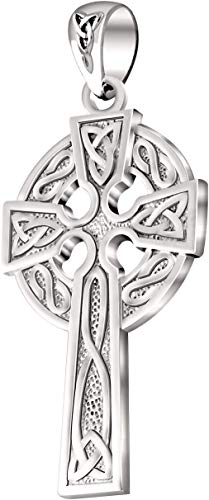 US Jewels And Gems Men's 925 Sterling Silver 1.625in Irish Celtic Knot Cross Pendant