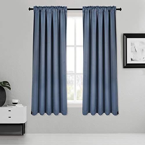 Inherent Flame Retardant Blackout Rod Pocket Curtains Fire Resistant Room Darkening Thermal Insulated Drapes for Bedroom Living Room School Office Nursery Theater Hospital 2 Pack Dusty Blue 38Wx54L
