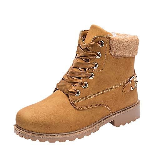 JERFER Winter Schnee Stiefel Damen Solide Stiefel Stiefeletten Runde Zehe Schuhe