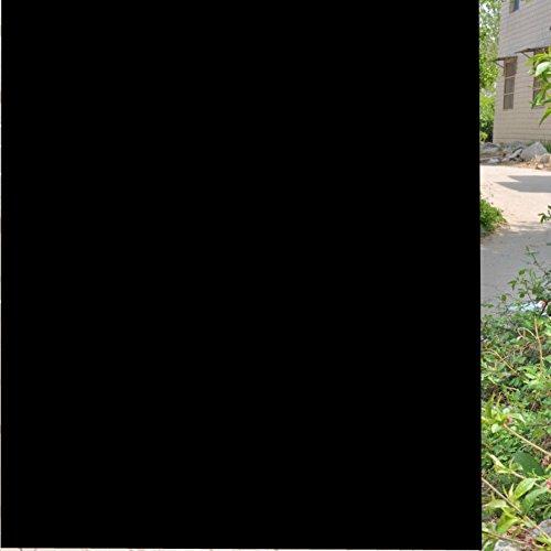 FENTIS Fensterfolie Schwarz Sichtschutzfolie 100% Selbstklebend Verdunkelungs Blickdicht Statische Folie für Schlafzimmer Badezimmer selstklebend Ohne Kleber 45 * 200 cm