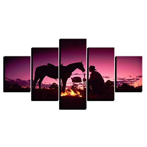 CINRYTN 5 Impresiones de Impresiones de imágenes Cuadro sobre Lienzo Camping de Caballos con Gente en Paisaje Morado. Imagen gráfica Decoracion Cuadros para dormitorios