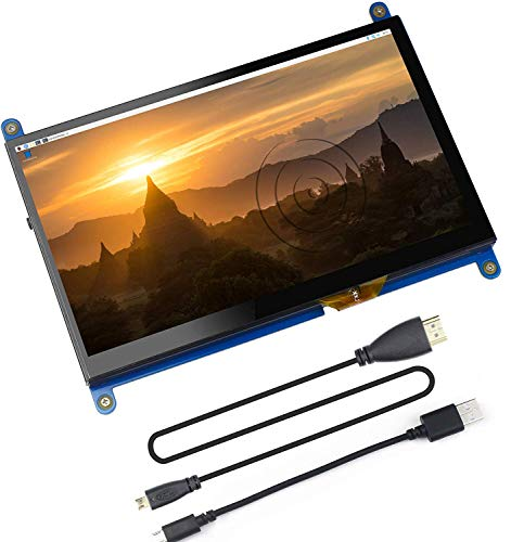 Touchscreen IPS da 7 pollici capacitivo 1024x600 HDMI Display Monitor di gioco per Raspberry Pi 4 con tastiera, custodia in pelle