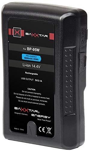 Baxxtar Pro V-Mount batería - LG Cells Inside - con 6600mAh 95Wh (Así, bajo 100Wh después de la política aéreo de la EU) Compatible con Sony BP-95W - Blackmagic URSA - Nanguang CN-600 etc.