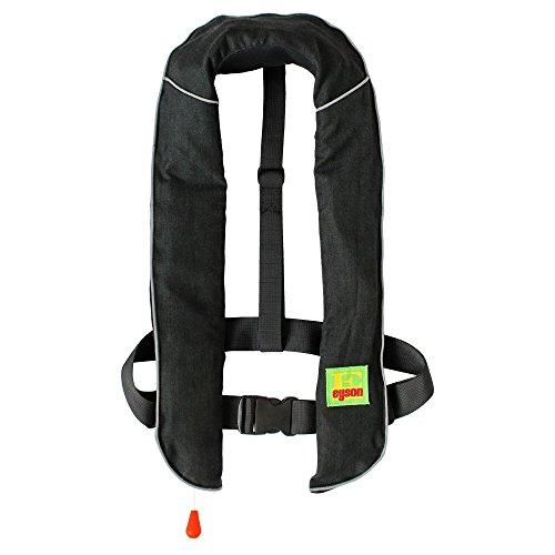 Best Price! Eyson Adult Fireproof Inflatable Life Jacket Life Vest PFD Automatic/Manual (Black, Manu...