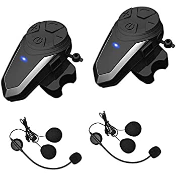 Yaconob Motorcycle Bluetooth Headset BT-S3 1000m Motorcycle Helmet Bluetooth Radio Intercom Wireless Interphone to 2-3 Riders (Waterproof/Handsfree/Stereo Music/FM Radio/GPS/MP3 2 Pack
