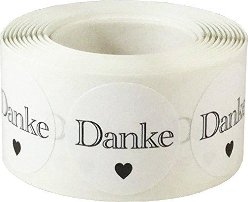 Weiße Danke Aufkleber, 25 mm 1 Zoll Kreis Etiketten 500 Packung