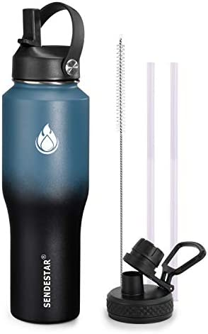 SENDESTAR Water Bottle 32oz,2 Lids(Straw lid),Wide Mouth Stainless Steel Vacuum Insulated Double Wall Keep Liquids Cold or Hot All Day,Sweat Proof Sport Design,Fit Car Cup Holder