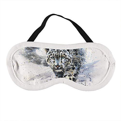 Sneeuw Luipaard Dieren Predator Wildlife Slaap Oog Masker Slapende Maskers Blinddoek Katoen Oog Kussen Zacht voor Vrouwen Mannen Reizen Naps Gepersonaliseerd