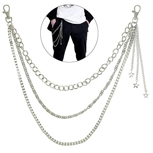 Shuxy Pocket Chain Pants Chain Trousers Chain with Star 3 Layer Pocket Keychain Hip Hop Chain for Keys Wallet Jeans Pant Chains Belt Loop Purse Handbag for Biker Motorcycle Locomotive Style, Silver