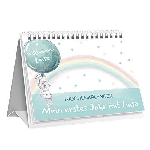 GOLDKINDCHEN Babykalender | Geschenk für werdende Mütter | Personalisierbar | Tipps von Hebammen | Mint & Rosa (Mint, Stier (21. Apr. - 20. Mai))
