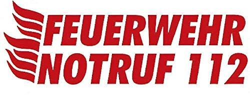 Auto-Aufkleber - FEUERWEHR NOTRUF 112 - (307780 rot) Gr. ca. 25x8,5cm - Stick Applikation - Feuerwehr Firefighter Rettungshelfer
