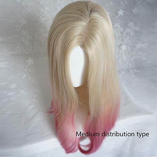 EQWR Postiches Européen et Américain Perruque Femelle Micro-rouleau Cheveux Longs Partiel Clair Or Gradient Poudre Boucle Longue Cheveux Raides Mode Cheveux Longs Bouclés top Cheveux Set B