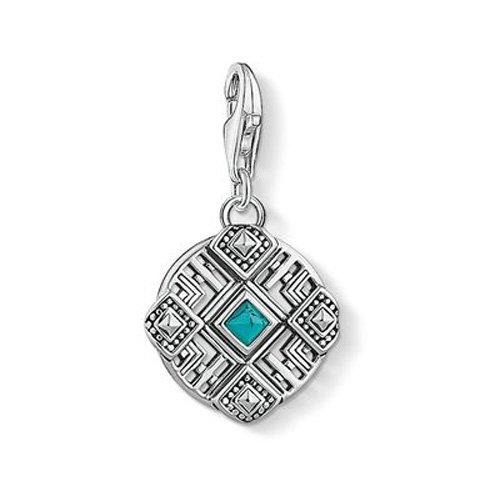 THOMAS SABO Damen-Anhänger Afrika Ornamente Oxidiertes Silber Türkis - 1421-878-17