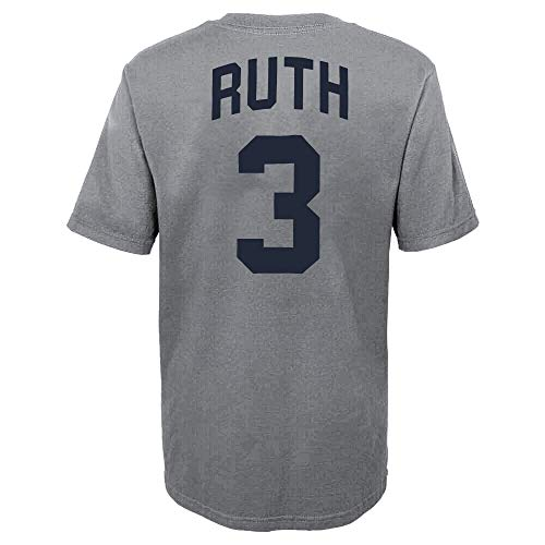 Outerstuff MLB Youth 8-20 Team Color Alternate Primary Logo Name and Number Player T-Shirt (8, Babe Ruth New York Yankees Gray Alternate)