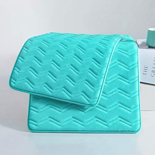 Absorbent Non Slip Bathroom Rugs-Memory Foam Bath Mats with Cozy Velvety Flannel-Bathroom Runner for Toliet Tub Shower (Lake Green, 17'x24' 1 PCS)