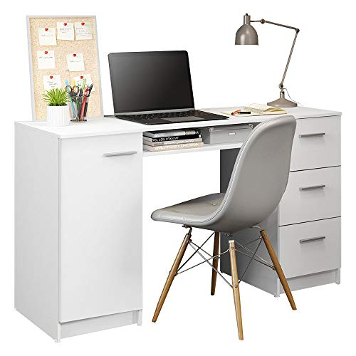 MADESA Modern Computer Desk 53' Study Writing Table for Home Office, Simple Style PC Desk with 3 Drawers, 1 Door and 1 Storage Shelf (White)