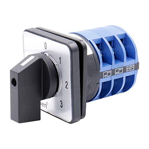 Heschen Interruptor de cambio universal de selector de levas giratorio SZW26-32/0-3.3 660V 32A 4 Posiciones 3 Fase 12 Terminales CE