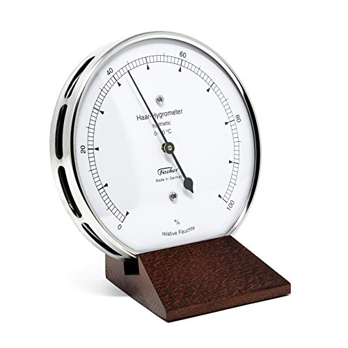 Fischer 122.01-22 - Haar-Hygrometer synthetisch - 103mm Feuchtemesser aus Edelstahl mit Holz-Standfuß Made in Germany