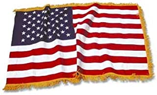 american flag with gold fringe