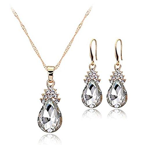 Gesh Juego de collar y pendientes de diamante con gotas de agua para mujer, elegante conjunto de joyas con colgante de cristal y pendientes (blanco)