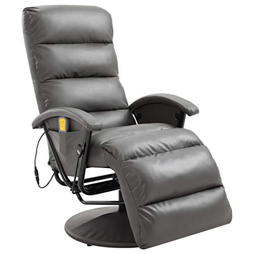 vidaXL TV Massagesessel mit Wärmefunktion Massage Elektrisch Fernsehsessel Relaxsessel Sessel Relaxliege Liegesessel Ruhesessel Grau Kunstleder