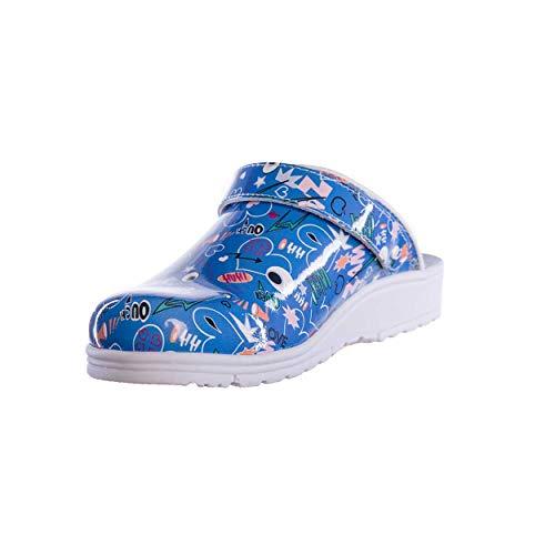 Sanita Footwear Slipper Clogs Hausschuhe, Farbe: Comic Blue, Größe: 41