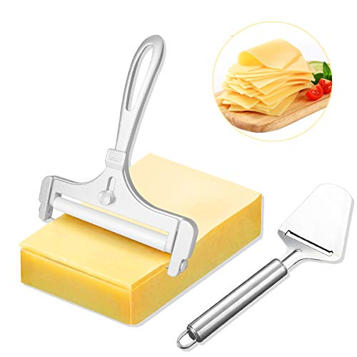 Cheese Slicer, 2 Pcs Stainless Steel Wire Cheese Cutter, Adjustable Thickness Cheese Slicers with Wire, Cheese Plane Slicers for Soft, Semi-Hard, Hard Cheeses, Perfect Kitchen Cooking Tool (Silver)