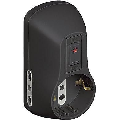 Foto di BTicino S3611GB Kit adattatore Safe 1 presa standard tedesca e 2 bipasso (10/16 A) con interruttore di sicurezza luminoso colore grigio, Nero