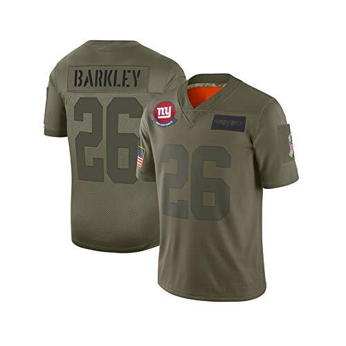 Herren Rugby Jersey Fußball Trikot # 26 Saquon Barkley New York Giants Fußball Kurzarm Sport T-Shirt Wettbewerb Uniform Shirts Trainingsanzüge Polo Shirt-L(183.188CM)